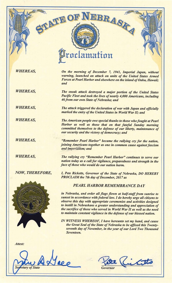PearlHarbor proclamation